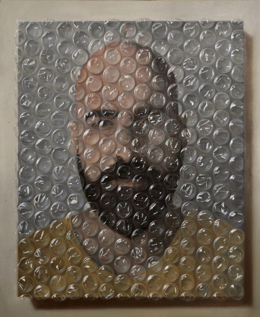 ציור של מיכאל חלאק החיים בבועה שיוצג בתערוכה בפרויקט הרובע
